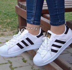 Adidas Superstar Siyah Şeritli Beyaz Bayan Ayakkabısı