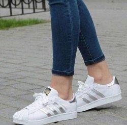 Adidas Superstar Silver Şeritli Beyaz Bayan Ayakkabısı