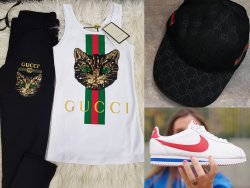 Gucci Eşofman Takımı Nike Cortez Ayakkabı Şapka Kombini E0406